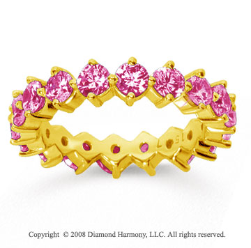 2 1/2 Carat Pink Sapphire 18k Yellow Gold Round Open Prong Eternity Band