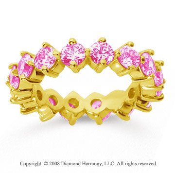 3 Carat Pink Sapphire 18k Yellow Gold Round Open Prong Eternity Band