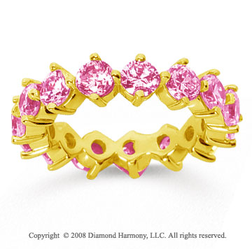 4 Carat Pink Sapphire 18k Yellow Gold Round Open Prong Eternity Band
