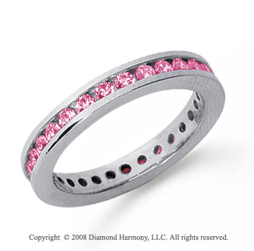 3/4 Carat Pink Sapphire Platinum Channel Eternity Band