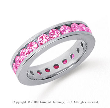 1 1/2 Carat Pink Sapphire Platinum Channel Eternity Band