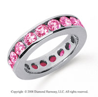 3 Carat Pink Sapphire Platinum Channel Eternity Band