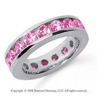 3 1/2 Carat Pink Sapphire Platinum Channel Eternity Band