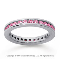 3/4 Carat Pink Sapphire 14k White Gold Channel Eternity Band