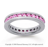 1 Carat Pink Sapphire 14k White Gold Channel Eternity Band
