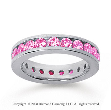 1 1/2 Carat Pink Sapphire 14k White Gold Channel Eternity Band