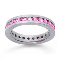 1 Carat Pink Sapphire 18k White Gold Channel Eternity Band