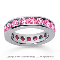 3 Carat Pink Sapphire 18k White Gold Channel Eternity Band