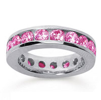 3 1/2 Carat Pink Sapphire 18k White Gold Channel Eternity Band