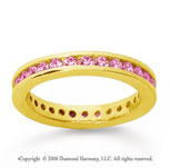 3/4 Carat Pink Sapphire 14k Yellow Gold Channel Eternity Band