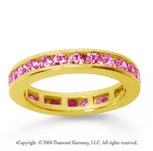 1/2 Carat Pink Sapphire 18k Yellow Gold Channel Eternity Band