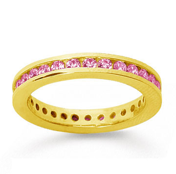 3/4 Carat Pink Sapphire 18k Yellow Gold Channel Eternity Band