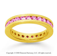 1 Carat Pink Sapphire 18k Yellow Gold Channel Eternity Band