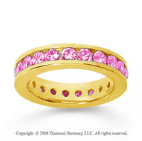 1 1/2 Carat Pink Sapphire 18k Yellow Gold Channel Eternity Band