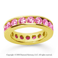 3 Carat Pink Sapphire 18k Yellow Gold Channel Eternity Band