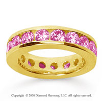 3 1/2 Carat Pink Sapphire 18k Yellow Gold Channel Eternity Band
