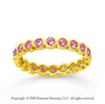 1/2 Carat Pink Sapphire 14k Yellow Gold Round Bezel Eternity Band