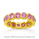 2 1/2 Carat Pink Sapphire 14k Yellow Gold Round Bezel Eternity Band