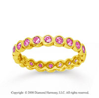 1/2 Carat Pink Sapphire 18k Yellow Gold Round Bezel Eternity Band