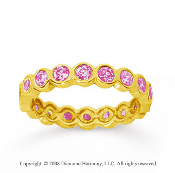 1 Carat Pink Sapphire 18k Yellow Gold Round Bezel Eternity Band