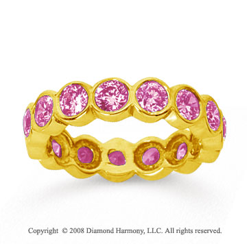 2 1/2 Carat Pink Sapphire 18k Yellow Gold Round Bezel Eternity Band