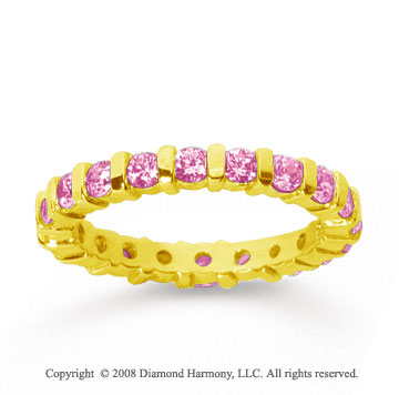 1 Carat Pink Sapphire 14k Yellow Gold Eternity Round Bar Band