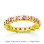 1 1/2 Carat Pink Sapphire 14k Yellow Gold Eternity Round Bar Band