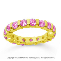 2 Carat Pink Sapphire 14k Yellow Gold Eternity Round Bar Band