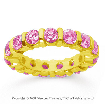 3 Carat Pink Sapphire 14k Yellow Gold Eternity Round Bar Band