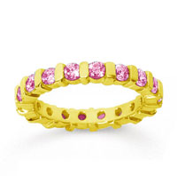 1 1/2 Carat Pink Sapphire 18k Yellow Gold Eternity Round Bar Band