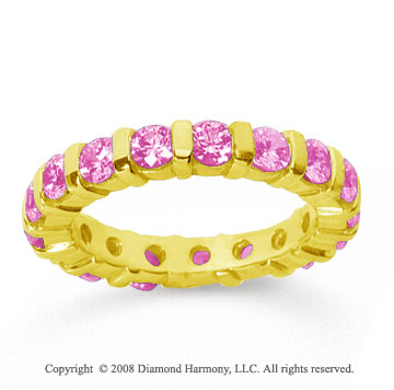 2 Carat Pink Sapphire 18k Yellow Gold Eternity Round Bar Band