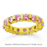 2 1/2 Carat Pink Sapphire 18k Yellow Gold Eternity Round Bar Band