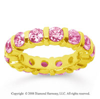 4 Carat Pink Sapphire 18k Yellow Gold Eternity Round Bar Band