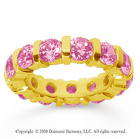 5 Carat Pink Sapphire 18k Yellow Gold Eternity Round Bar Band