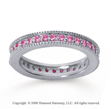 3/4 Carat Pink Sapphire 14k White Gold Milgrain Prong Eternity Band