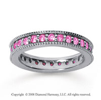 1 Carat Pink Sapphire 14k White Gold Milgrain Prong Eternity Band