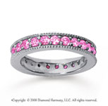 1 1/4 Carat Pink Sapphire 14k White Gold Milgrain Prong Eternity Band