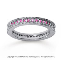 1/2 Carat Pink Sapphire 18k White Gold Milgrain Prong Eternity Band