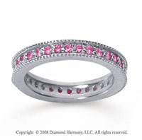 3/4 Carat Pink Sapphire 18k White Gold Milgrain Prong Eternity Band