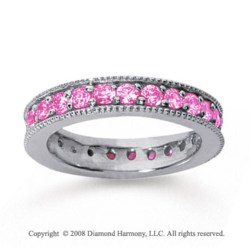 1 1/4 Carat Pink Sapphire 18k White Gold Milgrain Prong Eternity Band