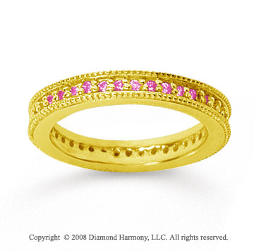 1/2 Carat Pink Sapphire 14k Yellow Gold Milgrain Prong Eternity Band
