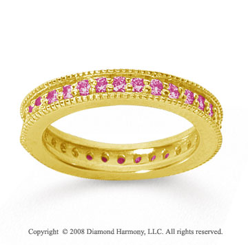3/4 Carat Pink Sapphire 14k Yellow Gold Milgrain Prong Eternity Band