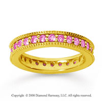 1 Carat Pink Sapphire 14k YelloWhite Gold Milgrain Prong Eternity Band