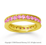 1 1/4 Carat Pink Sapphire 14k Yellow Gold Milgrain Prong Eternity Band