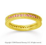 1/2 Carat Pink Sapphire 18k Yellow Gold Milgrain Prong Eternity Band