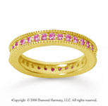 3/4 Carat Pink Sapphire 18k Yellow Gold Milgrain Prong Eternity Band