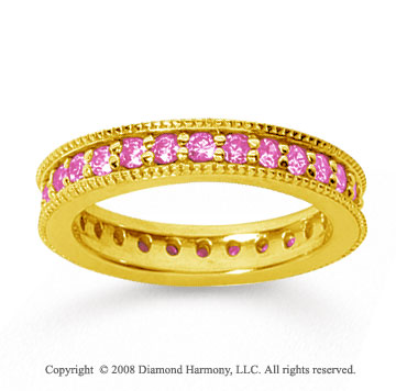 1 Carat Pink Sapphire 18k YelloWhite Gold Milgrain Prong Eternity Band