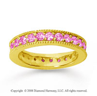 1 1/4 Carat Pink Sapphire 18k Yellow Gold Milgrain Prong Eternity Band