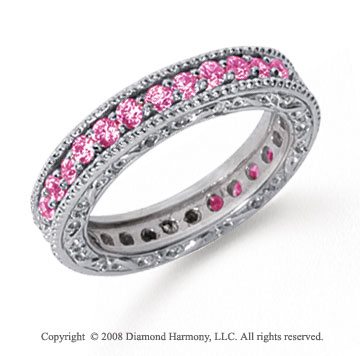 1 Carat Pink Sapphire Platinum Filigree Prong Eternity Band