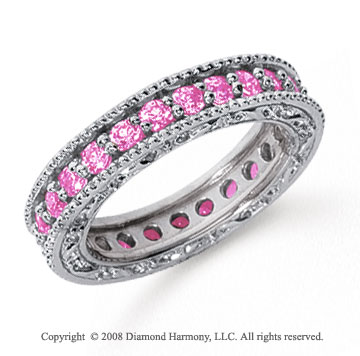 1 1/4 Carat Pink Sapphire Platinum Filigree Prong Eternity Band